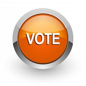 vote orange glossy web icon