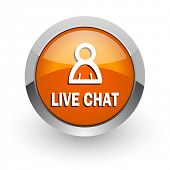 live chat orange glossy web icon
