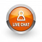 live chat orange glossy web icon