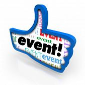 Event word in a blue thumbs up giving a recommendation to a special party, show