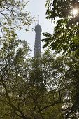 View of Eiffel tower through trees against sky at Paris; France