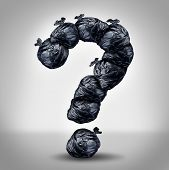 image of environmental pollution  - Garbage questions with a group of trash bags shaped as a question mark as a symbol of waste management and environmental issues as a throw away black plastic sack full of dirty smelly trash and useless junk - JPG