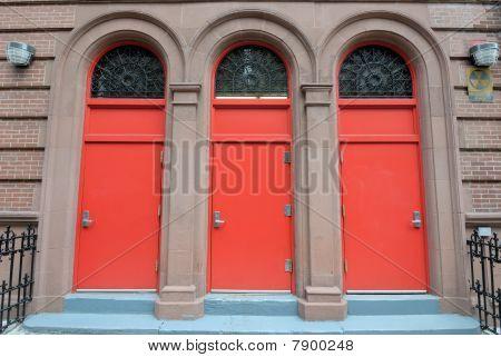 Three Red Doors