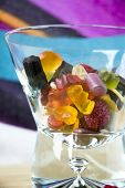 picture of gummy bear  - mix gummy bear candy in glass bowl - JPG