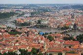 view of of the Vltava River and Prague, Czech Republic