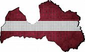 Latvia map with flag inside