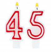 Birthday Candles Number Forty Five Isolated