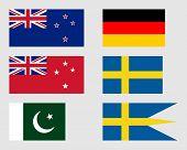 stock photo of pakistani flag  - New Zealand German Pakistani and Swedish flags - JPG