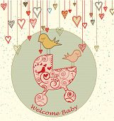 Baby Arrival Card with Birds and Stroller