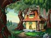 Fantasy house in a wood. Digital illustration.