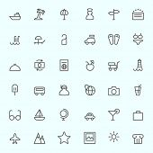 Travel icon, simple and thin line design