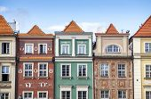stock photo of tenement  - Historic Poznan City buildings located on a main square Poland - JPG