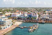 stock photo of colorful building  - Colorful buildings in Oranjestad on the island of Aruba - JPG