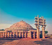Vintage retro effect filtered hipster style image of Great Stupa - ancient Buddhist monument. Sanchi, Madhya Pradesh, India