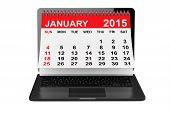 January Calendar Over Laptop Screen