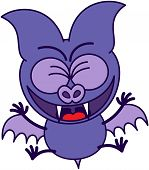 Purple bat celebrating animatedly