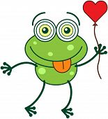 Green frog falling madly in love