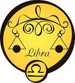 Stylized Zodiac Signs In A Yellow Circle - Libra.eps