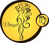 Stylized Zodiac Signs In A Yellow Circle - Virgo.eps