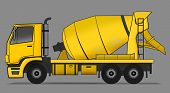 stock photo of tank truck  - Side illustration of yellow cement mixer truck - JPG