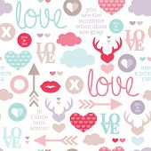 picture of sweet dreams  - Seamless love romantic valentine hearts and sweet kiss illustration background pattern with lovers text in vector - JPG