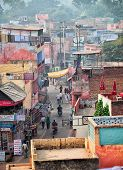 Agra, India - Circa Nov 2012: The Streets Of The Indian City. Top View.