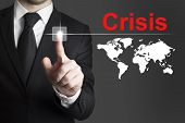 Businessman Pushing Button Crisis Global