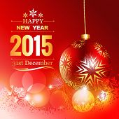 beautiful red christmas ball with happy new year wishes vector design