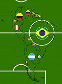 South America Soccer Map Circles