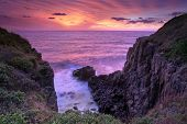 Fiery Sunrise Skies At Minamurra Headland South Coast Australia