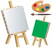 image of canvas  - Cartoon illustration of canvas easel paintbrush and palette isolated on white background - JPG