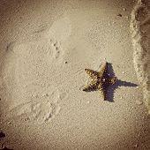Instagram Image Of Footprints In Sand As Waves Roll In