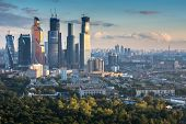 MOSCOW, RUSSIA - SEP 02, 2014: Building of Moscow International Business Center (Moscow-City) on the background of the city