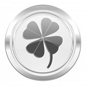 four-leaf clover metallic icon