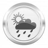 rain metallic icon waether forecast sign  poster