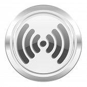 wifi metallic icon wireless network sign
