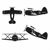picture of biplane  - vector illustration of vintage biplane black silhouette - JPG