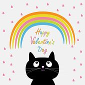 Rainbow And Pink Heart Rain With Cute Cartoon Cat. Flat Design Style. Happy Valentines Day Card