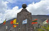 Mitad del Mundo with flags