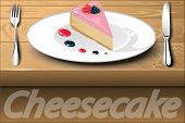 Slice Of Berry Cake On A White Plate With Drops Of Raspberry  Sauce. Cheesecake.