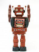 red retro robot toy