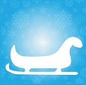 foto of santa sleigh  - Illustration of santas sleigh flat icon on blue - JPG