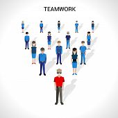 stock photo of avatar  - Teamwork concept with group of male and female people avatars vector illustration - JPG