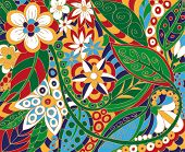 stock photo of batik  - illustration of a beautiful batik depicting floral color ornament - JPG