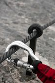 Two Carabiners On A Cable