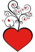 Swirly red love heart