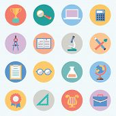 Flat Education Icons. Science And Knowledge