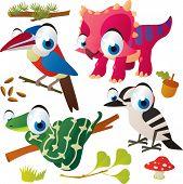 Vector set of isolated cute animals: arasari bird, triceratops, woodpecker, snake