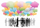 stock photo of  media  - Business social media people network in a cloud of company speech bubbles colors - JPG