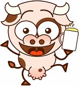 pic of enthusiastic  - Cute cow in minimalistic style with bulging eyes and big udder while holding a glass of beer and offering a toast in an enthusiastic way - JPG